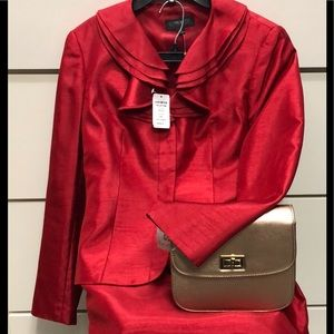 4a6130009c10b NWT Size 6 JOHN MEYER shiny red 2 pc skirt suit